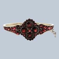 Deco Bohemian Garnet Sterling Bangle Bracelet
