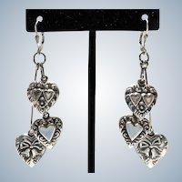 Sterling Puffy Heart Charm Earrings