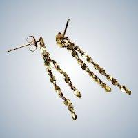 14K Gold Dangle Earrings Pierced