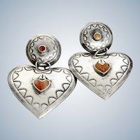 Vintage Southwest Sterling + Coral Large Heart Earrings