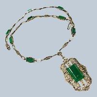 Stunning Art Deco/Edwardian Chrysoprase Sterling Necklace
