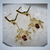 Garnets and CZ Sterling Vermeil Spider Earrings