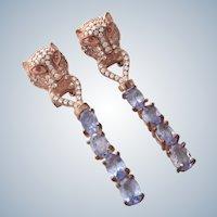 Vintage Tanzanite Ruby+CZ's Sterling Vermeil Panther Earrings
