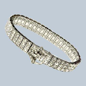 Antique Art Deco Diamond Paste Sterling Buckle Bracelet