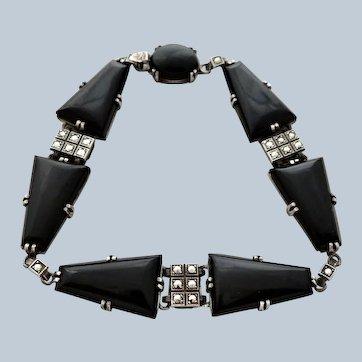 Art Deco Sterling Onyx Marcasite Bracelet