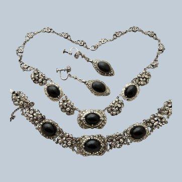 Deco Sterling Onyx Marcasite Necklace Bracelet Earrings Parure