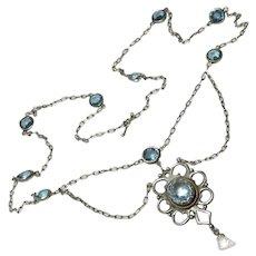Edwardian Blue Topaz Paste Sterling Festoon Necklace