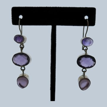 Large Amethyst Sterling Dangle Earrings