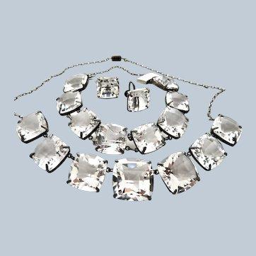 Deco Rock Crystal Sterling Necklace Bracelet Earrings
