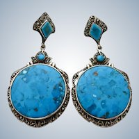 Art Nouveau Style Turquoise + Marcasite Sterling Earrings