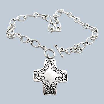Silpada Southwestern Sterling Large Cross Necklace