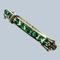 Art Deco Emerald Paste Sterling Buckle Bangle Bracelet