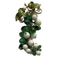Vintage Enamel Czech Peacock Eye Glass Milk Glass Grape Bunch Brooch