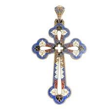 Beautiful Large Antique French Enamel Cross Pendant