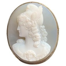 Fine Huge Antique Hardstone Chalcedony Agate Cameo Brooch Pendant of Perseus