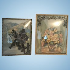 Bent Glass Framed Silhouette Litho Floral and Pierrot with Lute