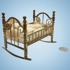 Brass Miniature Dollhouse Crib Cradle (babies sold separately)