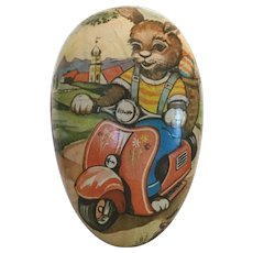 Extra Large German Easter Egg Bunny on Scooter