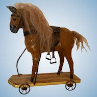 "Pull Toy Horse 10"" Prop for Dolls Saddled with Mohair Mane"