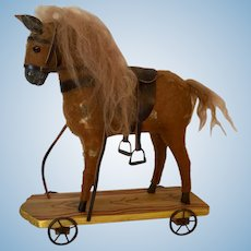 """Pull Toy Horse 10"""" Prop for Dolls Saddled with Mohair Mane"""