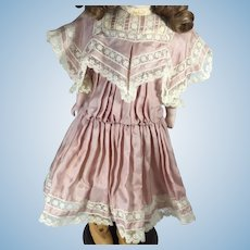 Stunning Silk and Lace Dress For Antique Doll