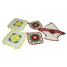 5 Crocheted Pot Holders Reds and Yellows