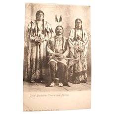Real Photo American Indian Native Chief and Family