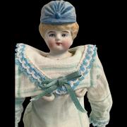 "10"" Blue Bonnet Head China Doll"
