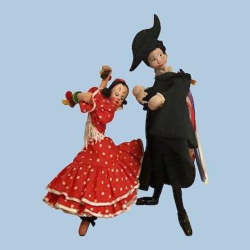 "8"" Pair Klumpe Roldan Felt Dolls Tagged Spanish Dancers"