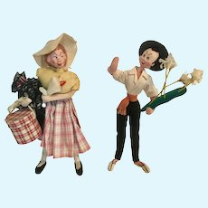 "10"" Klumpe Roldan Nistis Flower Vendor and Shopping Lady Felt Doll Spain"