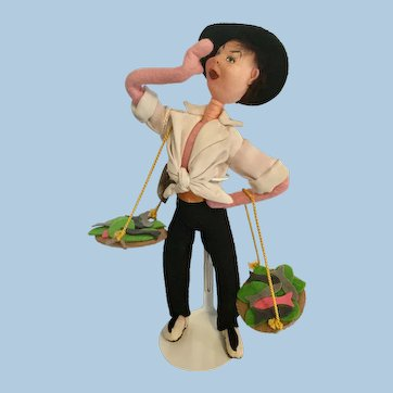 "Klumpe Fish Vendor Seller 10"" Felt Doll Spain"