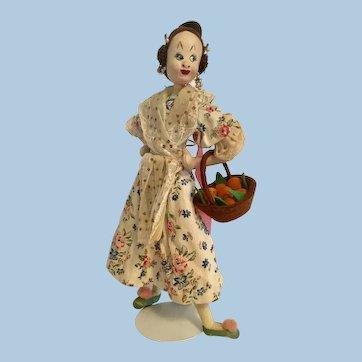 "12"" Roldan Klumpe Nistis Lady with Basket of Peaches Felt Spain"