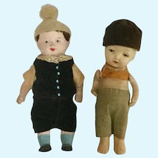 "Pair of 6"" Boy Dolls Japan Bisque and Paper-Mache"