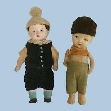 """Pair of 6"""" Boy Dolls Japan Bisque and Paper-Mache"""