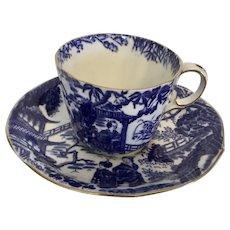 Royal Crown Derby Blue Mikado Cup/Saucer 1952