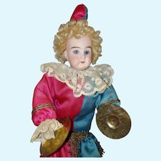 "14"" German Mechanical Cymbal Playing Jester Clown Polichinelle Doll"