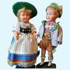 "9"" Celluloid Swiss Bavarian/Austrian Gura Dolls"