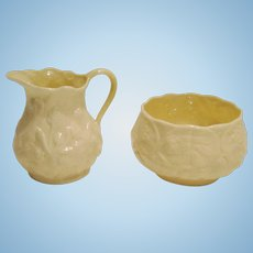 Belleek Lotus Cream and Sugar Set