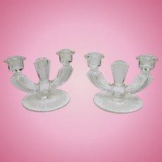 Fostoria Double Candle Holders