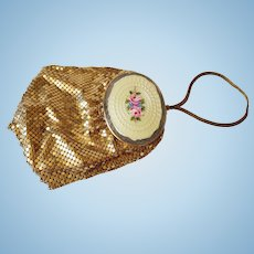 Evans Double Compact Gold Mesh Purse