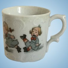German Child Baby Cup Mug Porcelain Roller Skater