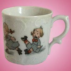 German Child Baby Cup Mug Porcelain Roller Skater
