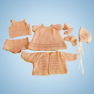 """9 Piece Hand Knitted Set For 15"""" Baby Doll"""