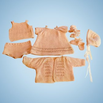 "9 Piece Hand Knitted Set For 15"" Baby Doll"
