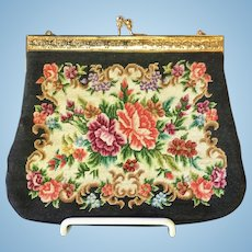 Petite Point Purse Black Floral