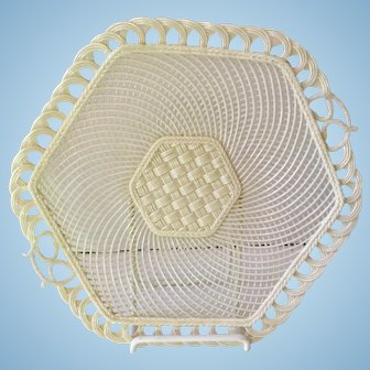 Belleek Hexagon Woven Basket Weave Porcelain Plate Tray