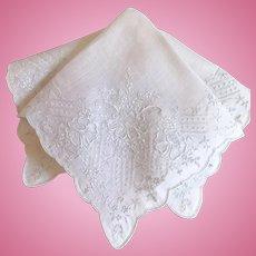 Stunning Embroidered Bridal Wedding Handkerchief