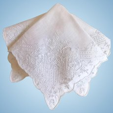 Stunning Embroidered Bridal Wedding Handkerchief