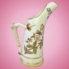 1884 Royal Worcester Ewer Jug Vase Antler