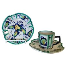 Henriot Quimper French Cup Saucer Plate Triplet